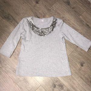 Cotton 3/4 sleeve Sequin & Bead Bibbed TShirt
